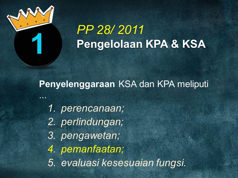 PP 28/ 2011 Pengelolaan KPA & KSA perencanaan; perlindungan;