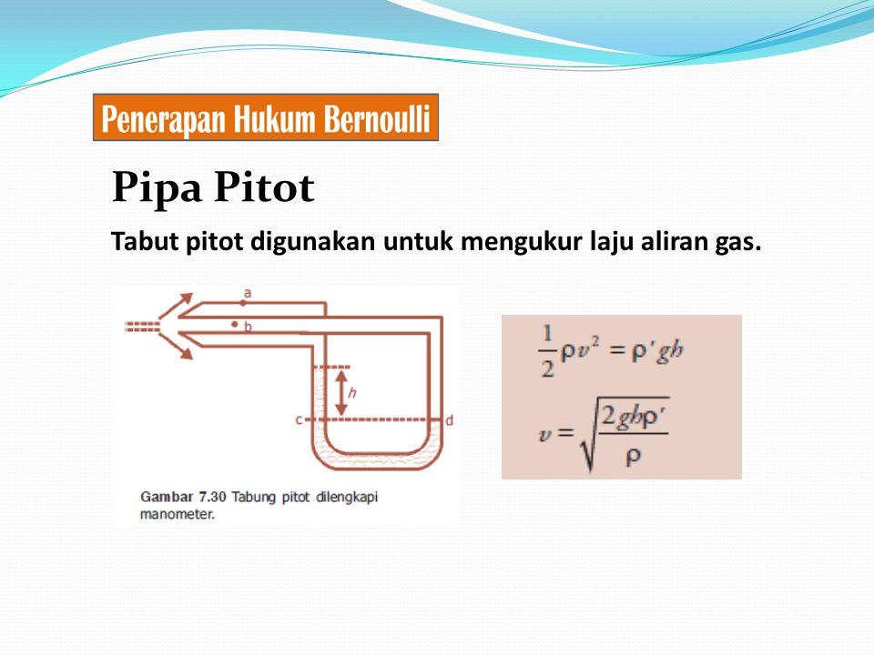 Pipa Pitot Tabut pitot digunakan untuk mengukur laju aliran gas.