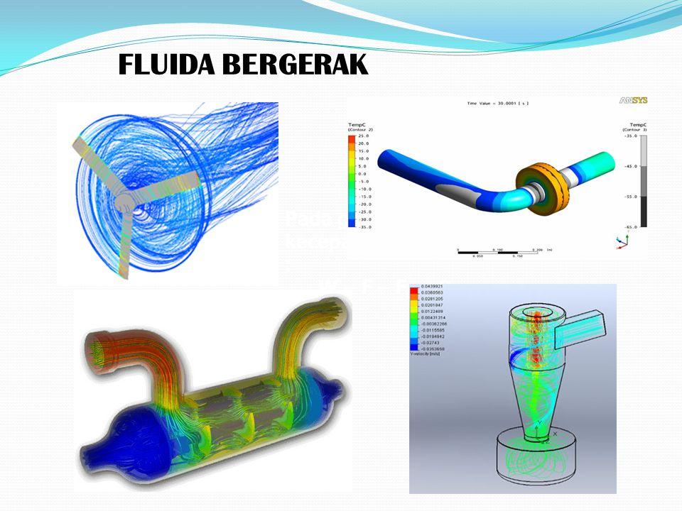 FLUIDA BERGERAK Pada gambar bekerja gaya, dan kecepatan terminal dicapai apabila : W – F – Fs = 0