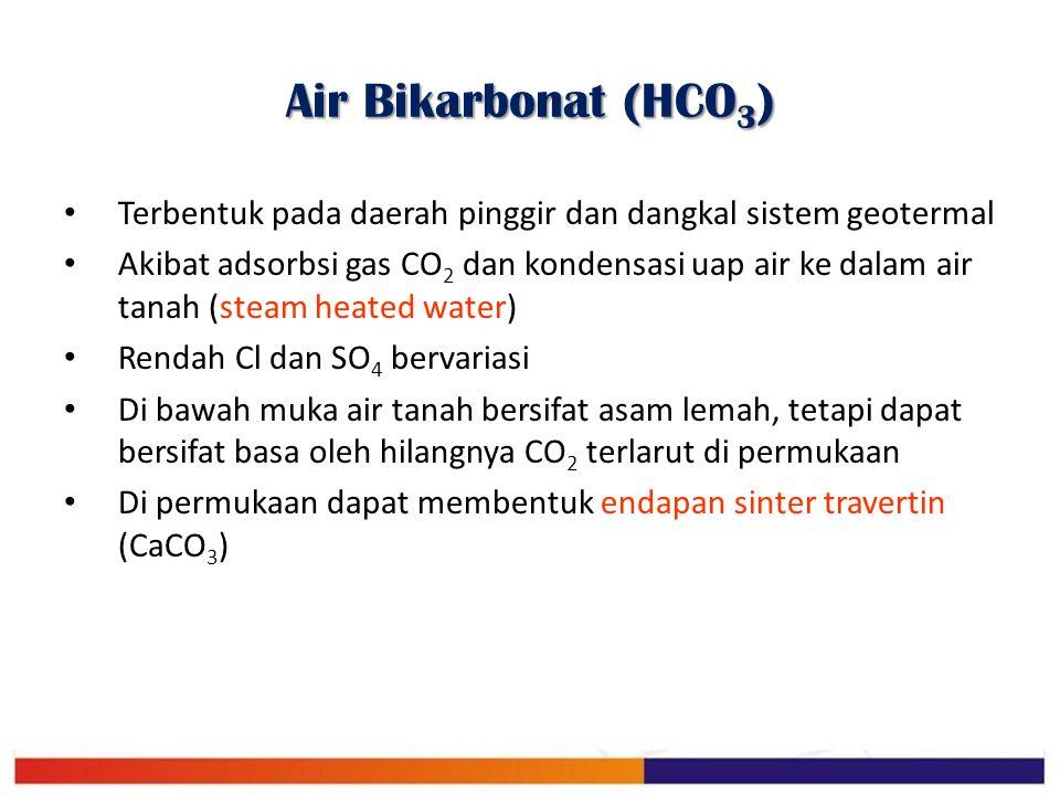 Air Bikarbonat (HCO3) Terbentuk pada daerah pinggir dan dangkal sistem geotermal.