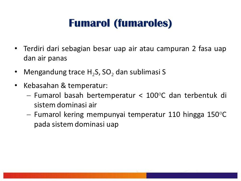 Fumarol (fumaroles) Terdiri dari sebagian besar uap air atau campuran 2 fasa uap dan air panas. Mengandung trace H2S, SO2 dan sublimasi S.