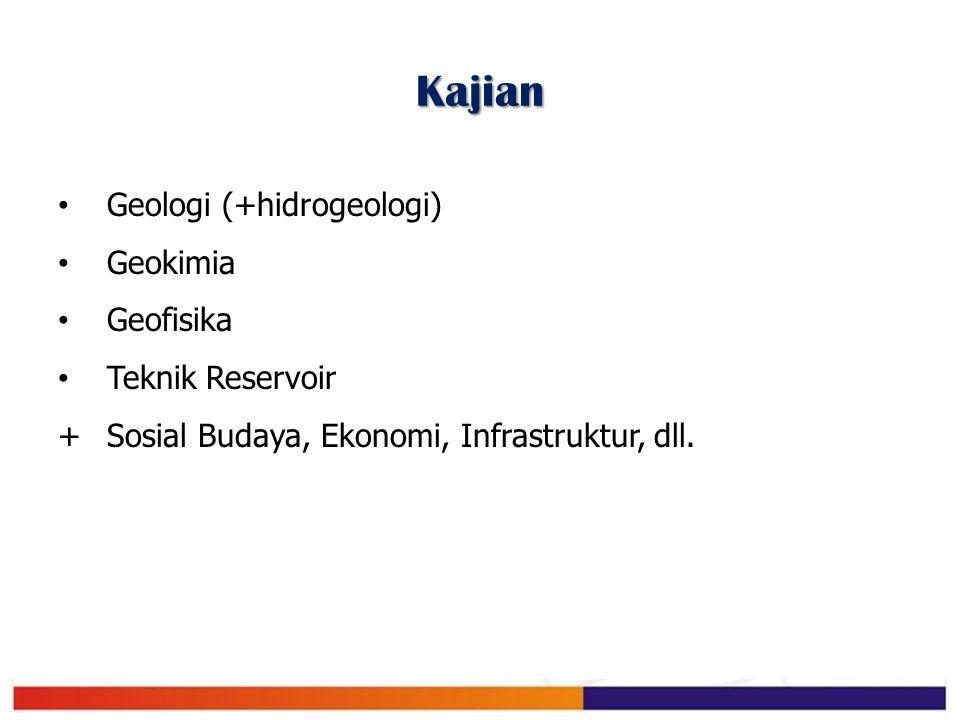 Kajian Geologi (+hidrogeologi) Geokimia Geofisika Teknik Reservoir