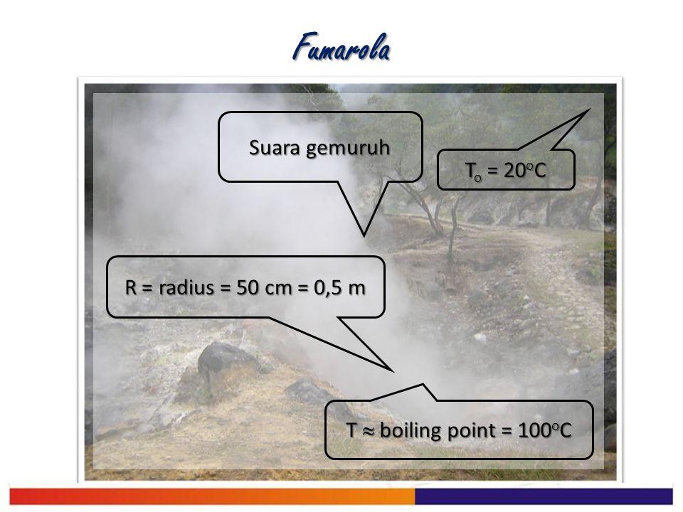 Fumarola Suara gemuruh To = 20oC R = radius = 50 cm = 0,5 m
