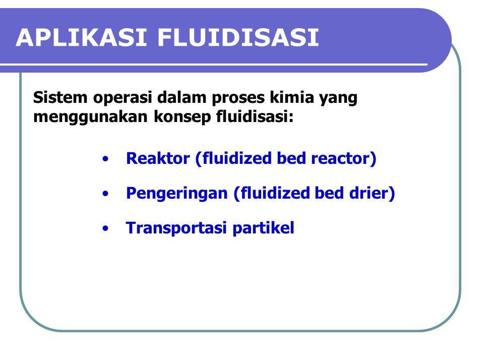 APLIKASI FLUIDISASI Sistem operasi dalam proses kimia yang menggunakan konsep fluidisasi: Reaktor (fluidized bed reactor)