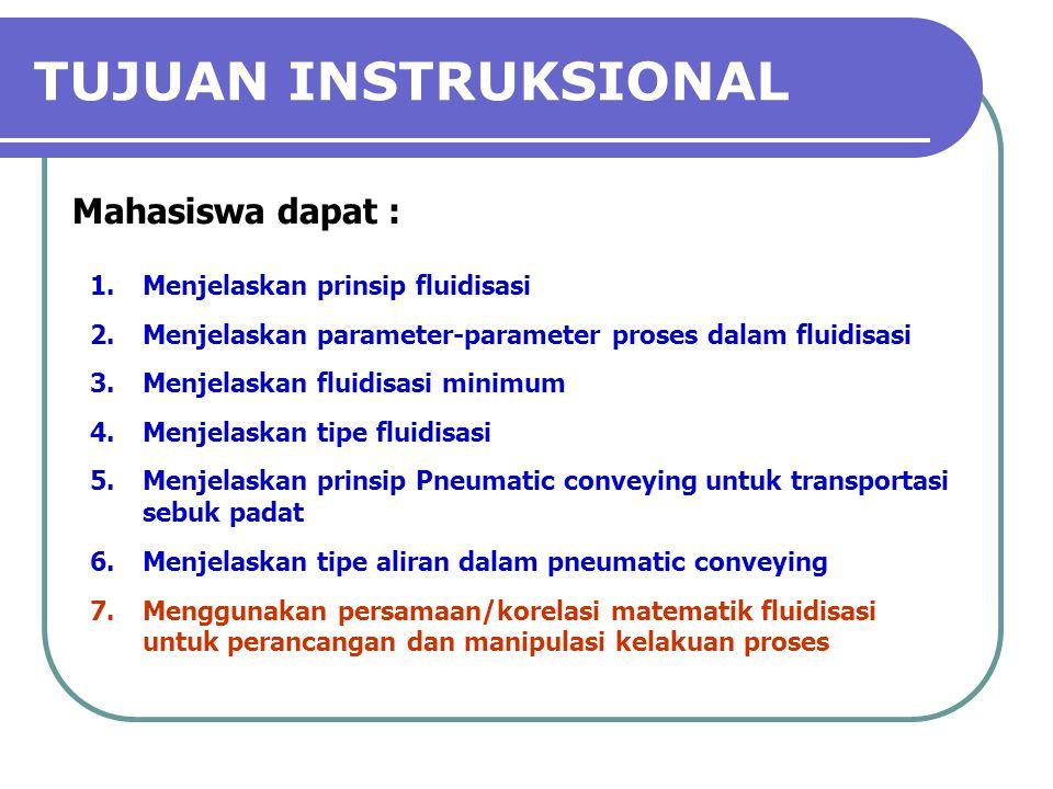 TUJUAN INSTRUKSIONAL Mahasiswa dapat : Menjelaskan prinsip fluidisasi