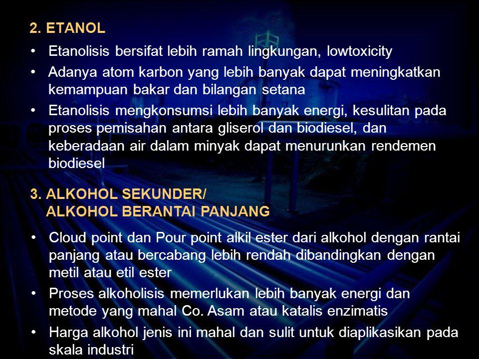 2. ETANOL Etanolisis bersifat lebih ramah lingkungan, lowtoxicity.
