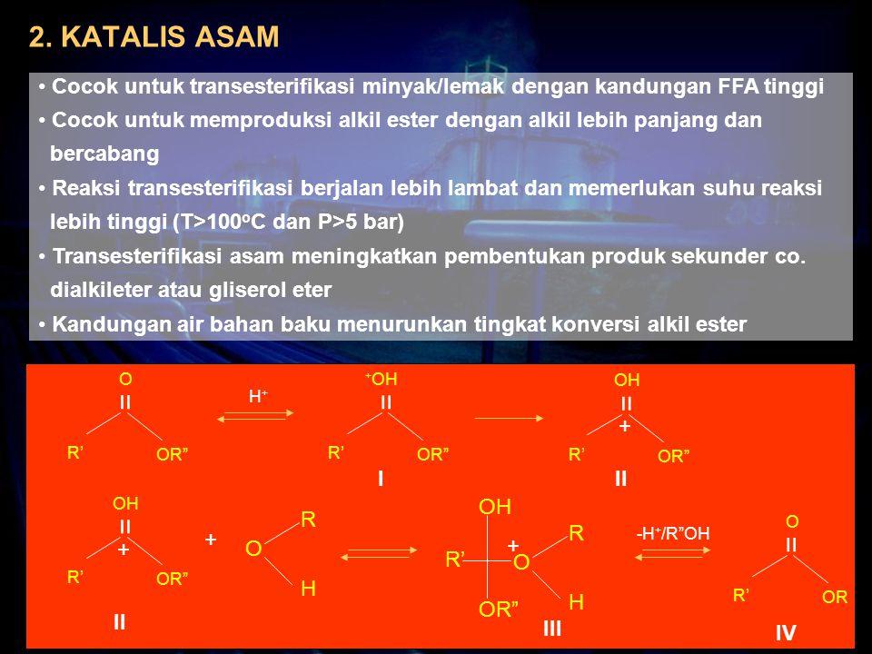 2. KATALIS ASAM Cocok untuk transesterifikasi minyak/lemak dengan kandungan FFA tinggi.