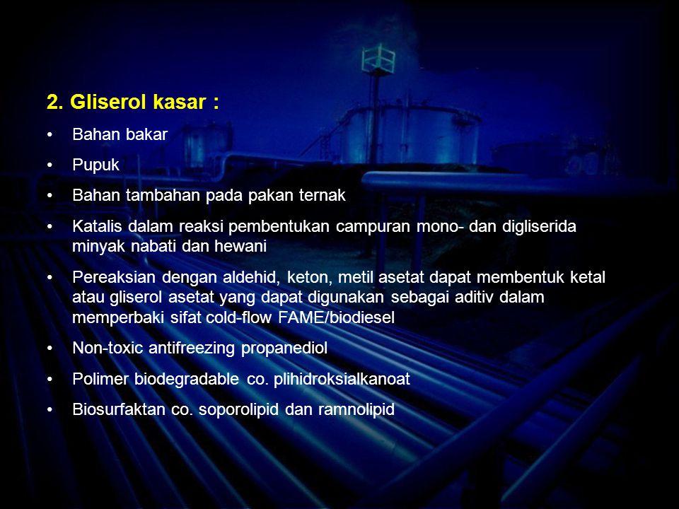 2. Gliserol kasar : Bahan bakar Pupuk Bahan tambahan pada pakan ternak