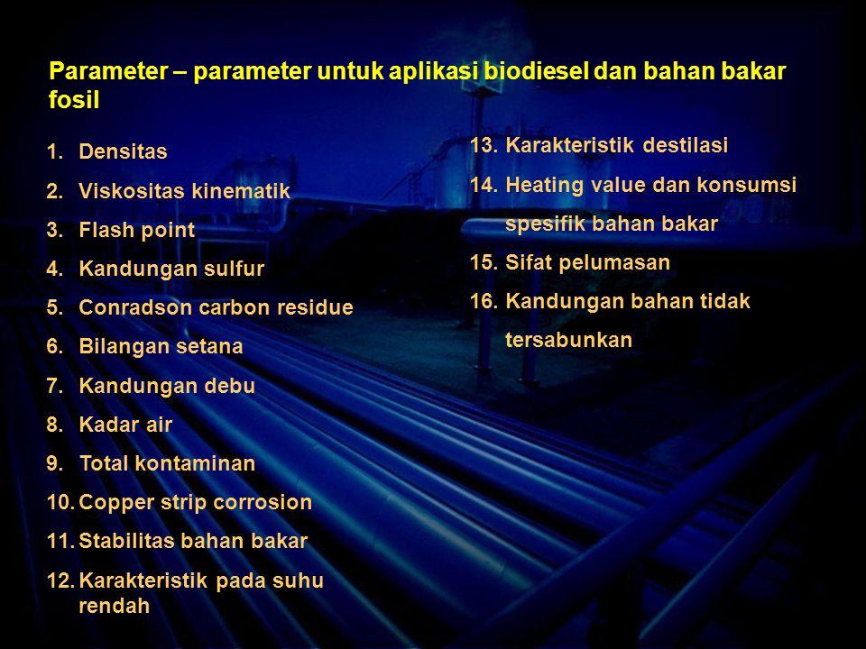 Parameter – parameter untuk aplikasi biodiesel dan bahan bakar fosil