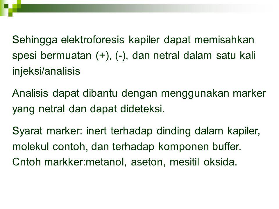 Sehingga elektroforesis kapiler dapat memisahkan spesi bermuatan (+), (-), dan netral dalam satu kali injeksi/analisis