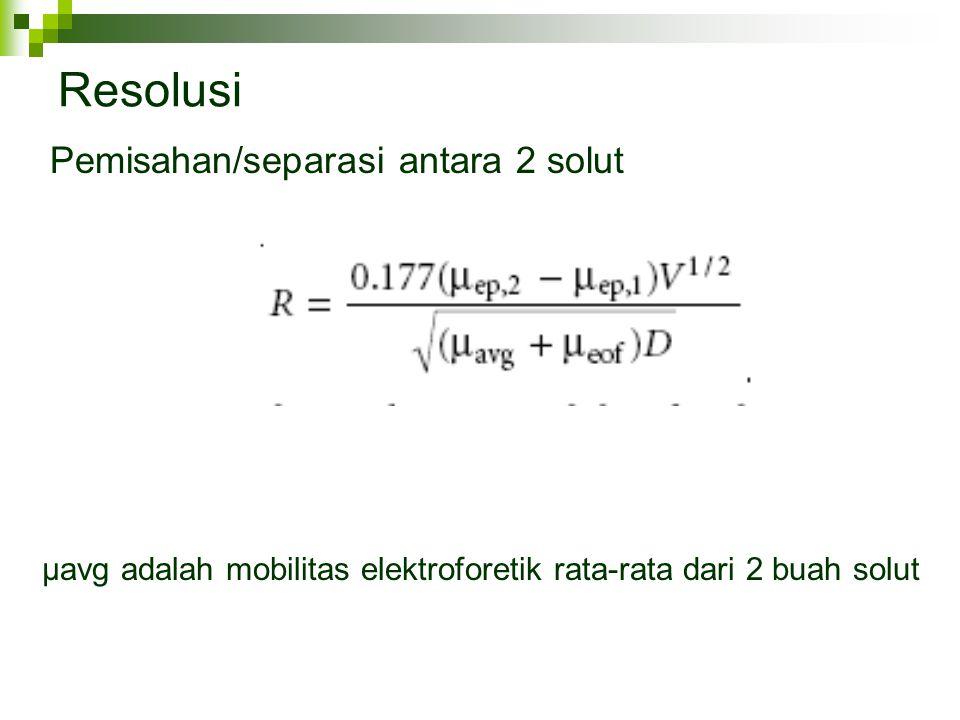 µavg adalah mobilitas elektroforetik rata-rata dari 2 buah solut