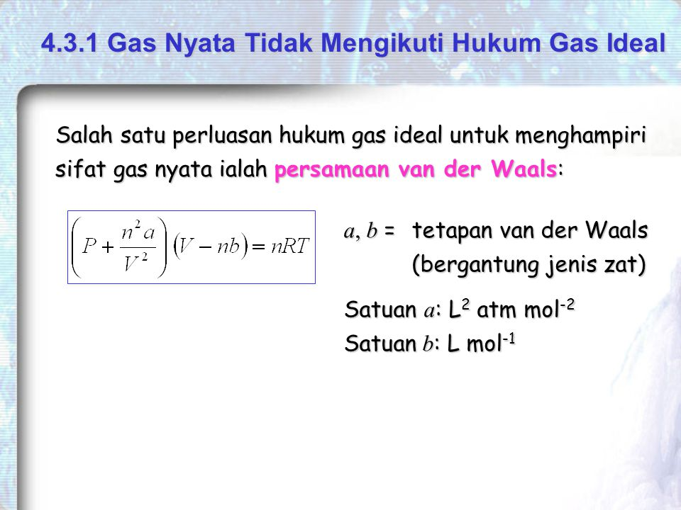 4.3.1 Gas Nyata Tidak Mengikuti Hukum Gas Ideal
