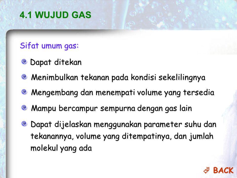 4.1 WUJUD GAS Sifat umum gas: Dapat ditekan