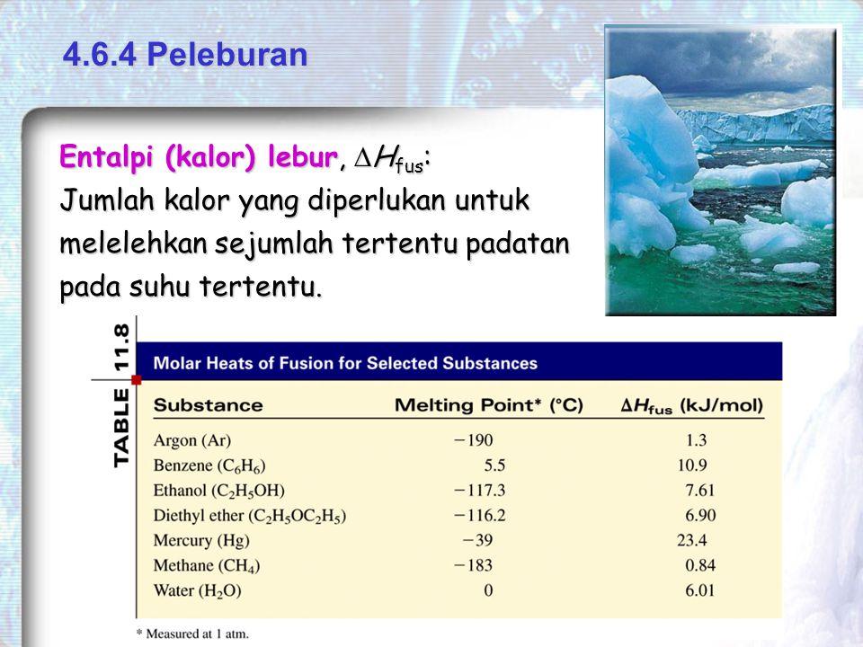 4.6.4 Peleburan Entalpi (kalor) lebur, Hfus: