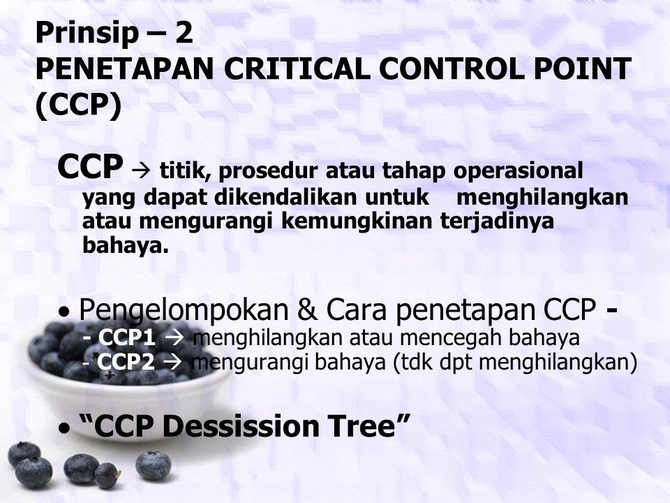 Prinsip – 2 PENETAPAN CRITICAL CONTROL POINT (CCP)