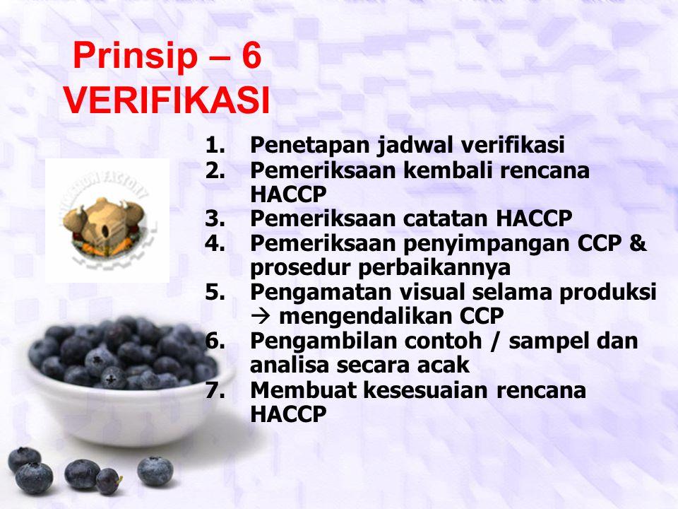 Prinsip – 6 VERIFIKASI Penetapan jadwal verifikasi