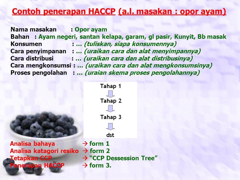 Contoh penerapan HACCP (a.l. masakan : opor ayam)