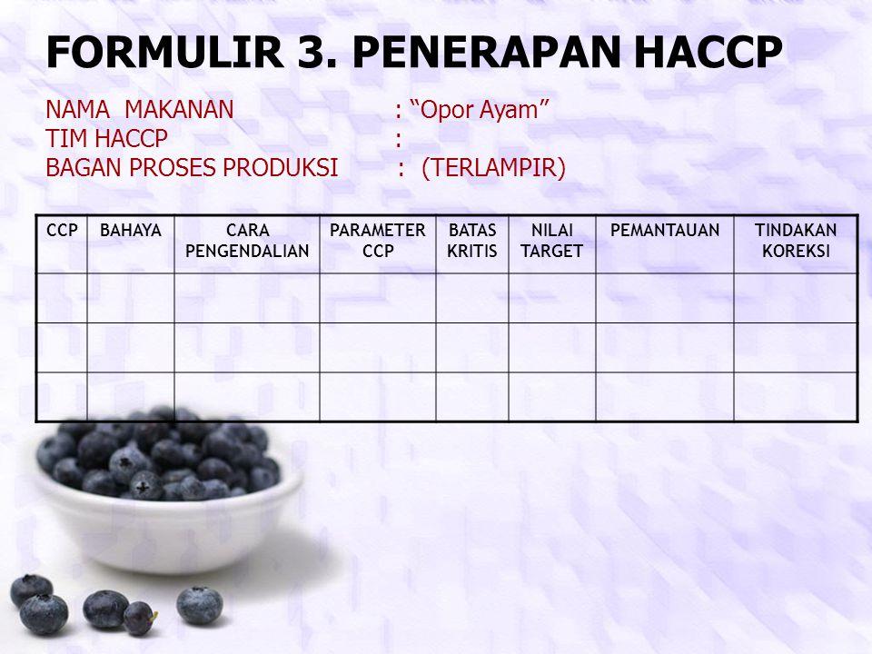 FORMULIR 3. PENERAPAN HACCP
