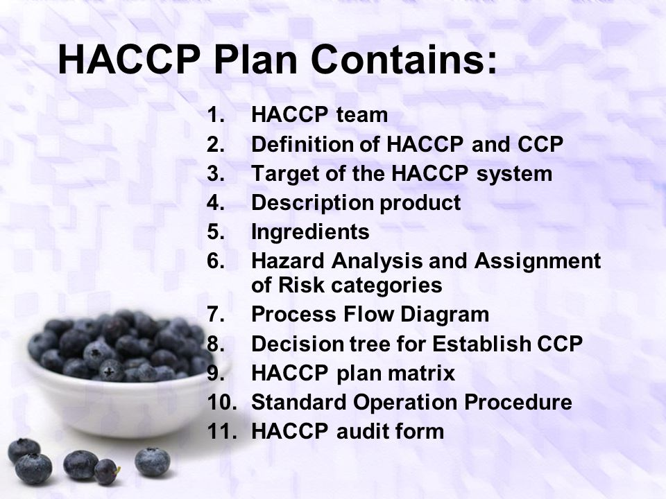HACCP Plan Contains: HACCP team Definition of HACCP and CCP