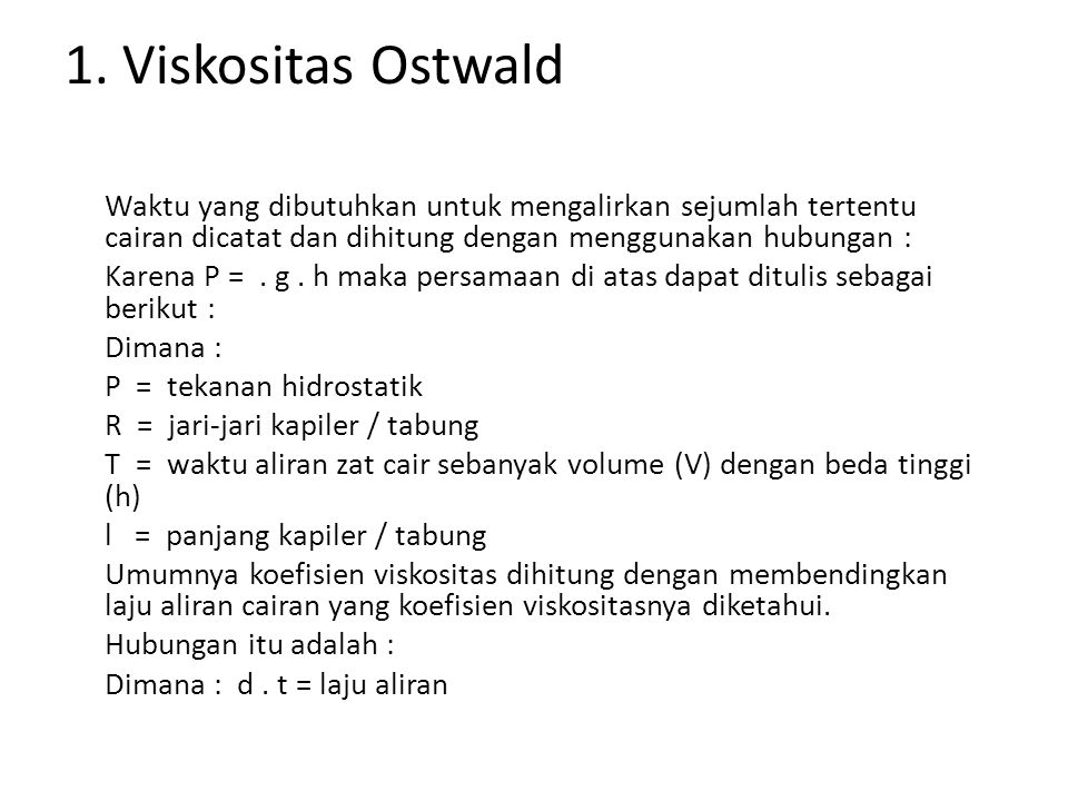 1. Viskositas Ostwald