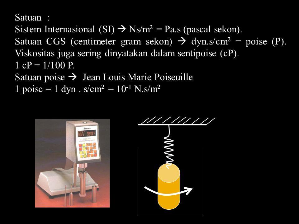 Satuan : Sistem Internasional (SI)  Ns/m2 = Pa.s (pascal sekon).