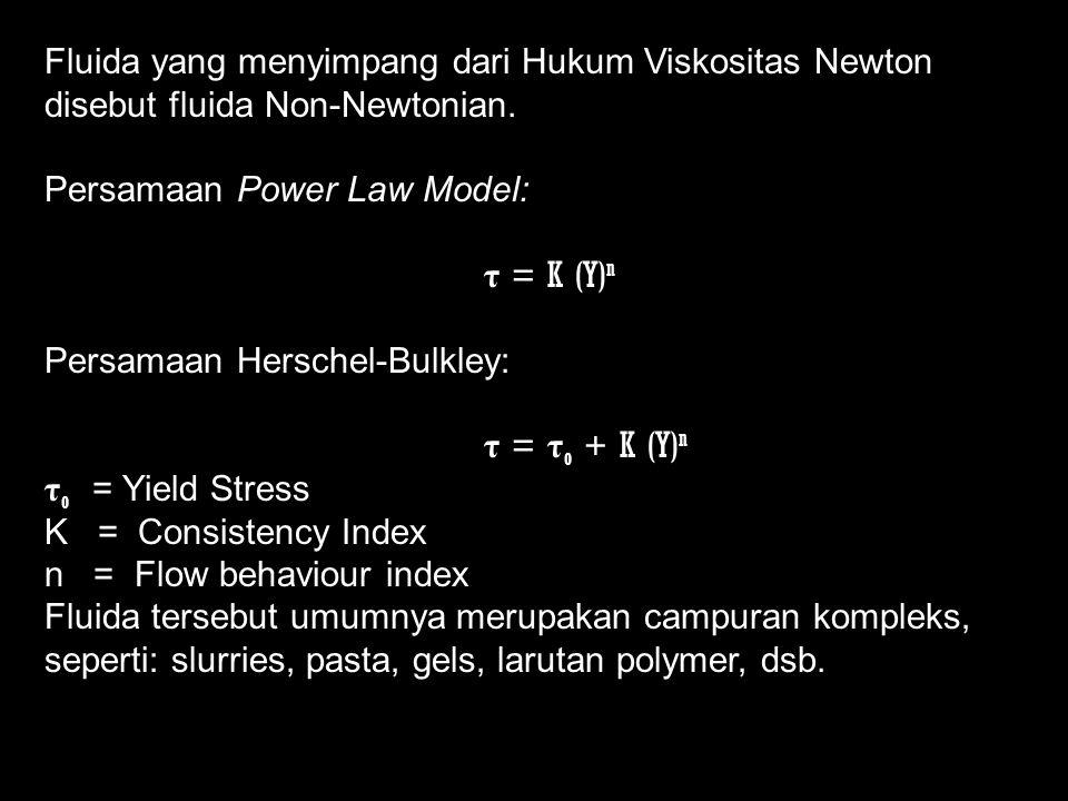 Fluida yang menyimpang dari Hukum Viskositas Newton disebut fluida Non-Newtonian.