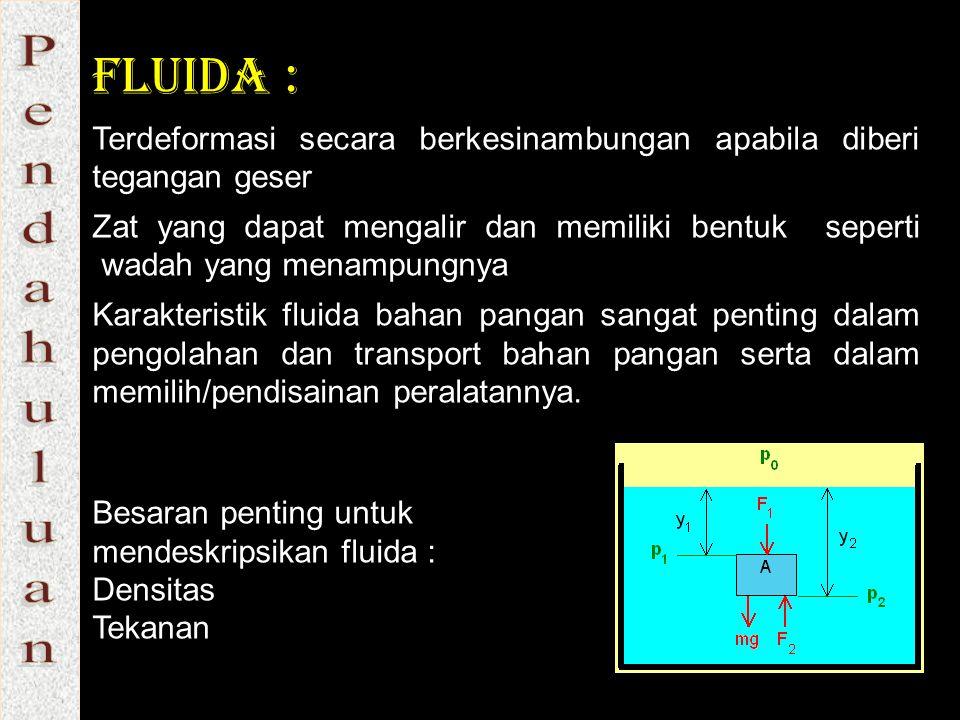 Fluida : Terdeformasi secara berkesinambungan apabila diberi tegangan geser.