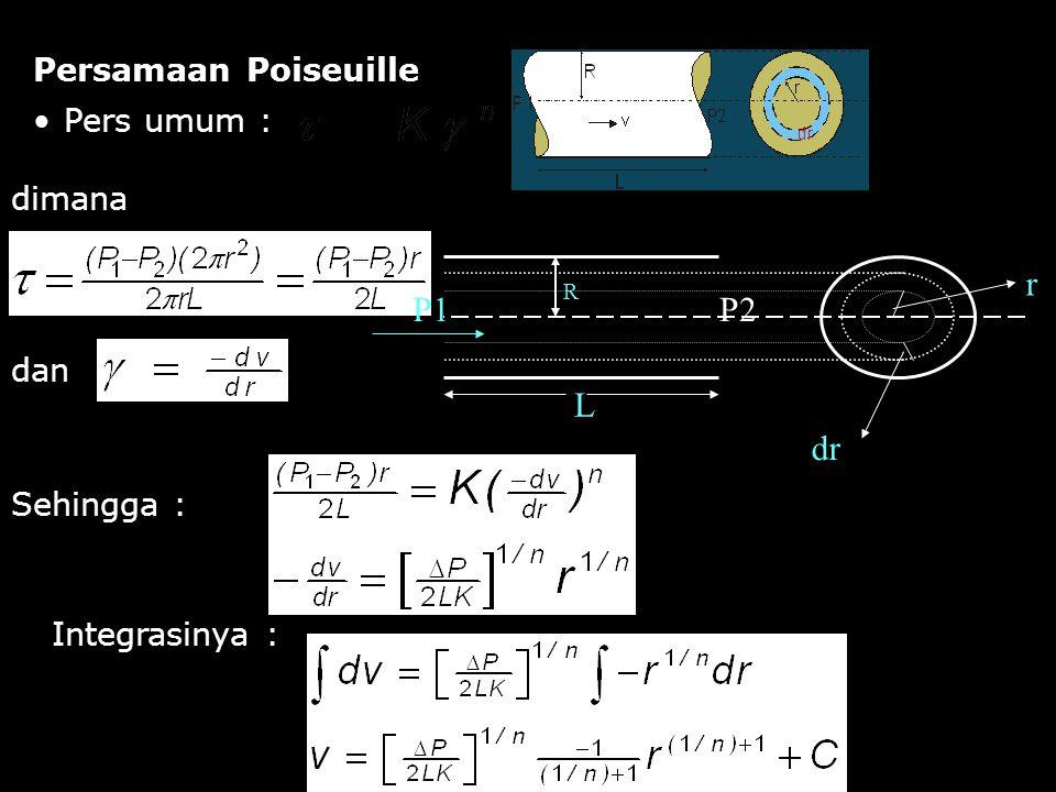 L P1 P2 dr r Persamaan Poiseuille Pers umum : dimana dan Sehingga :