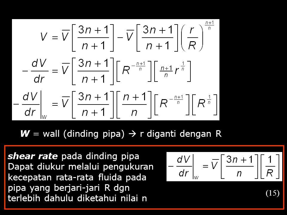 W = wall (dinding pipa)  r diganti dengan R