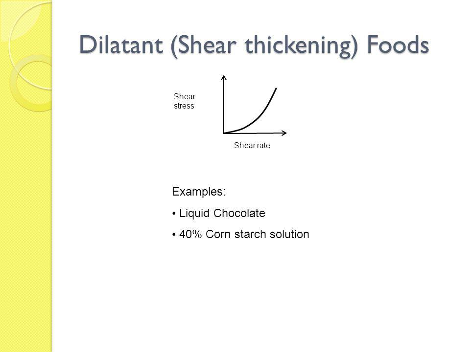 Dilatant (Shear thickening) Foods