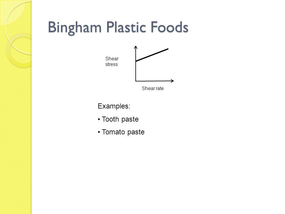 Bingham Plastic Foods Examples: Tooth paste Tomato paste Shear stress