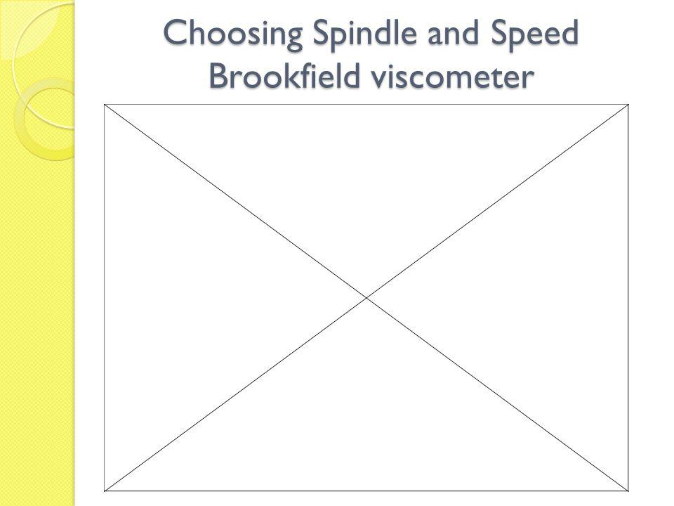 Choosing Spindle and Speed Brookfield viscometer