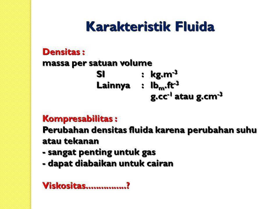 Karakteristik Fluida Densitas : massa per satuan volume SI : kg.m-3