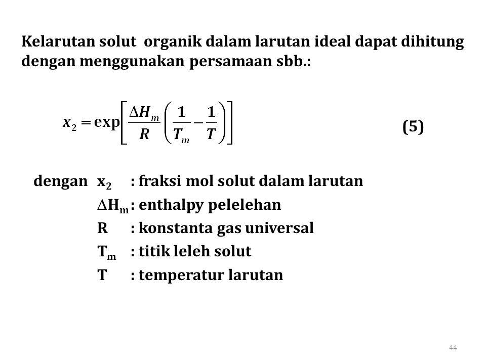 Kelarutan solut organik dalam larutan ideal dapat dihitung dengan menggunakan persamaan sbb.: