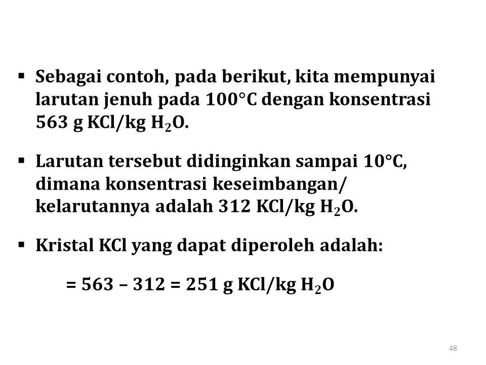 Sebagai contoh, pada berikut, kita mempunyai larutan jenuh pada 100C dengan konsentrasi 563 g KCl/kg H2O.