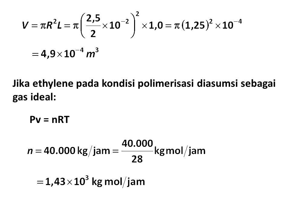 Jika ethylene pada kondisi polimerisasi diasumsi sebagai gas ideal: