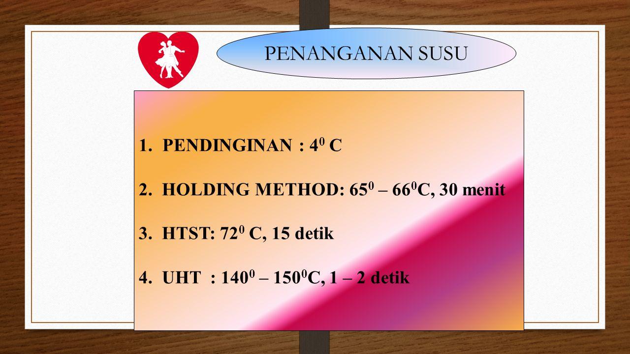 PENANGANAN SUSU PENDINGINAN : 40 C