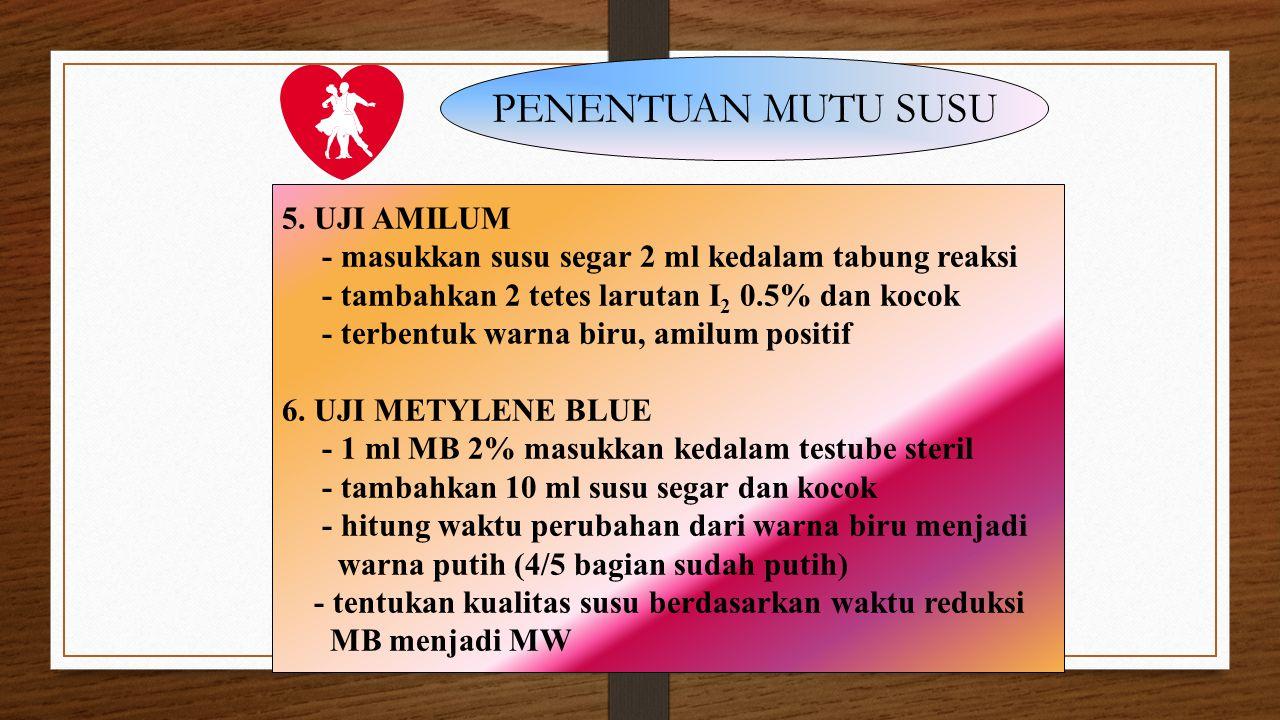 PENENTUAN MUTU SUSU 5. UJI AMILUM