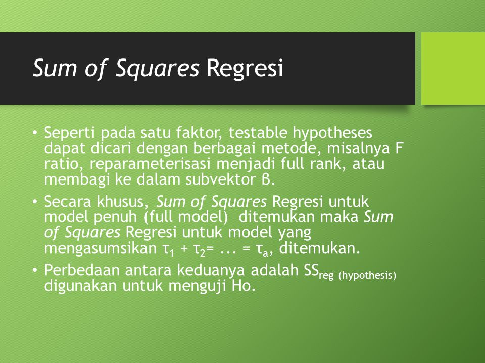 Sum of Squares Regresi