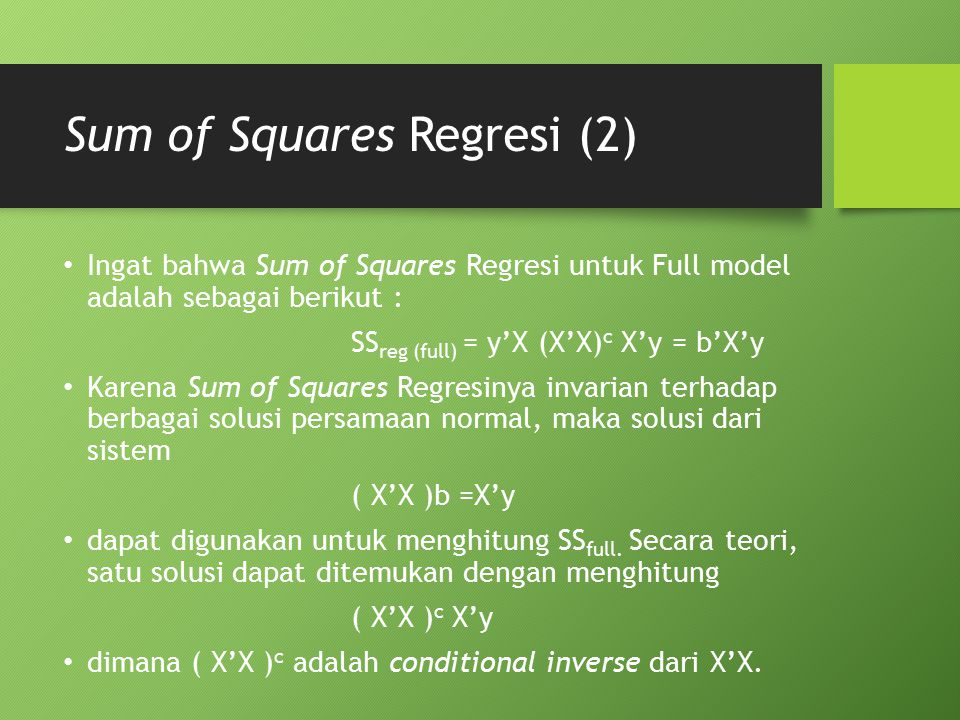 Sum of Squares Regresi (2)