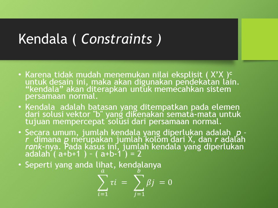 Kendala ( Constraints )
