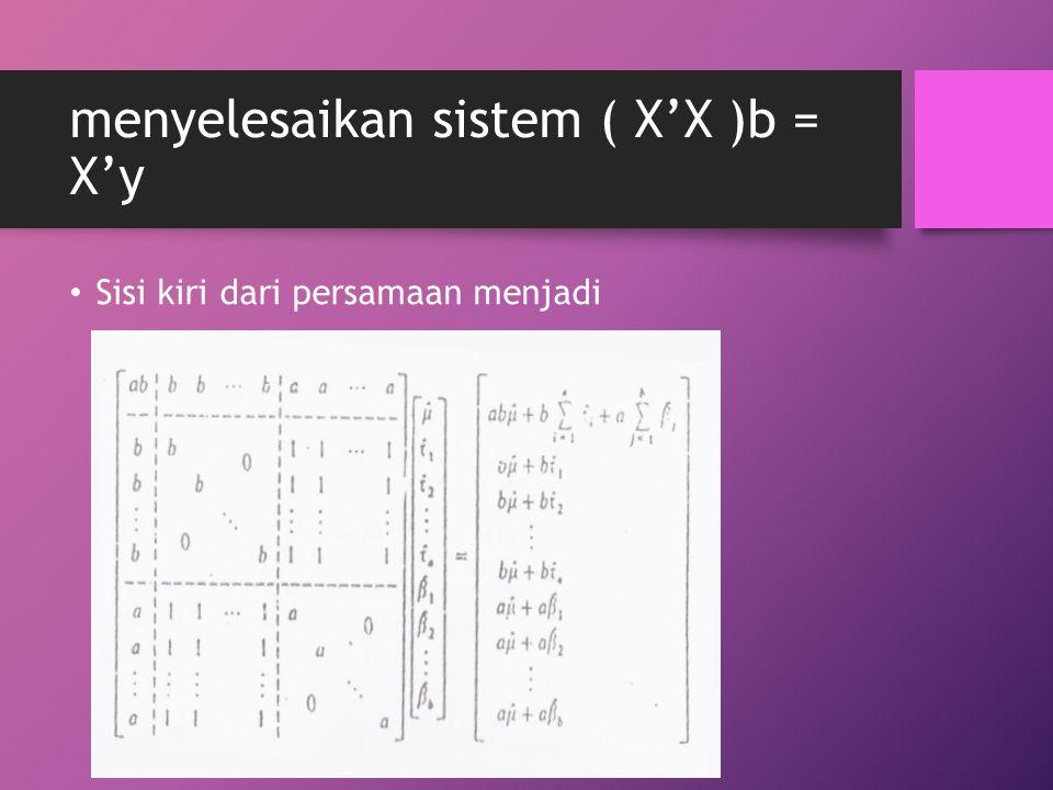 menyelesaikan sistem ( X'X )b = X'y