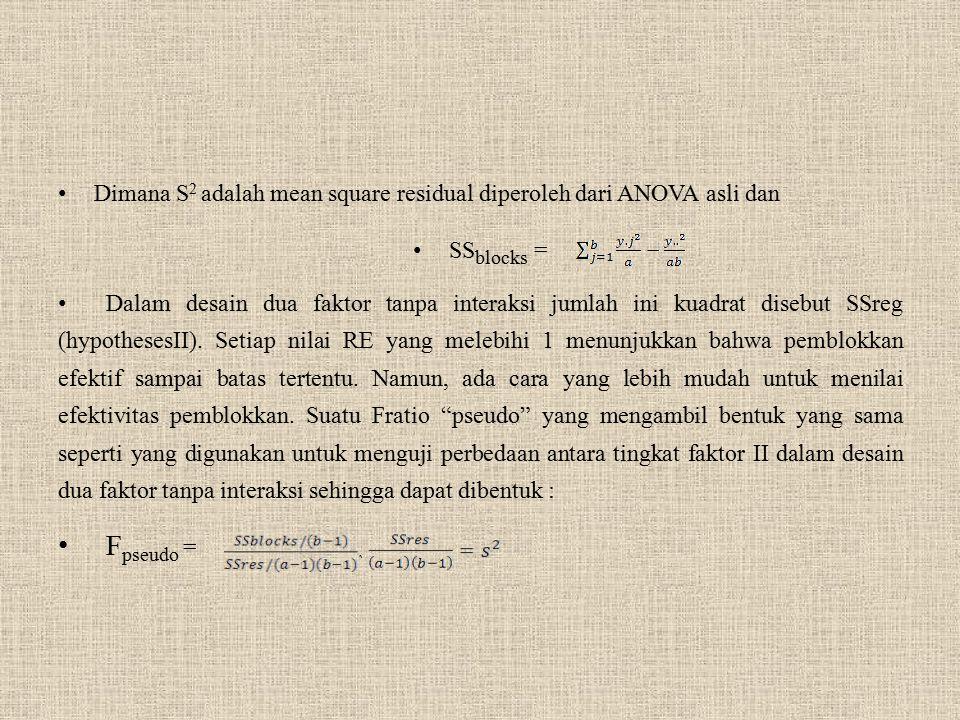 Dimana S2 adalah mean square residual diperoleh dari ANOVA asli dan