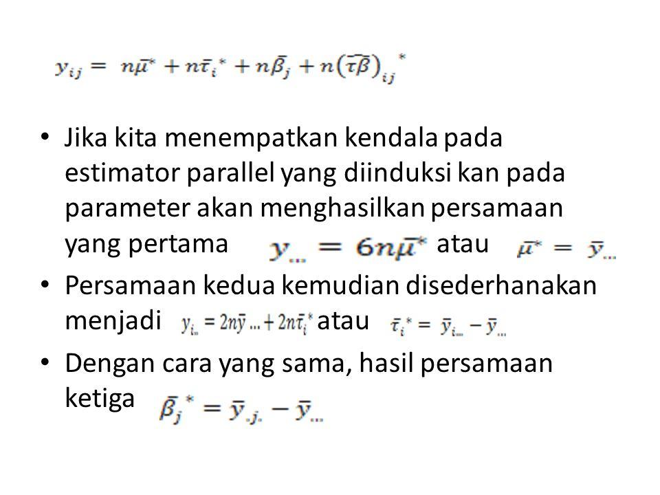 Jika kita menempatkan kendala pada estimator parallel yang diinduksi kan pada parameter akan menghasilkan persamaan yang pertama atau