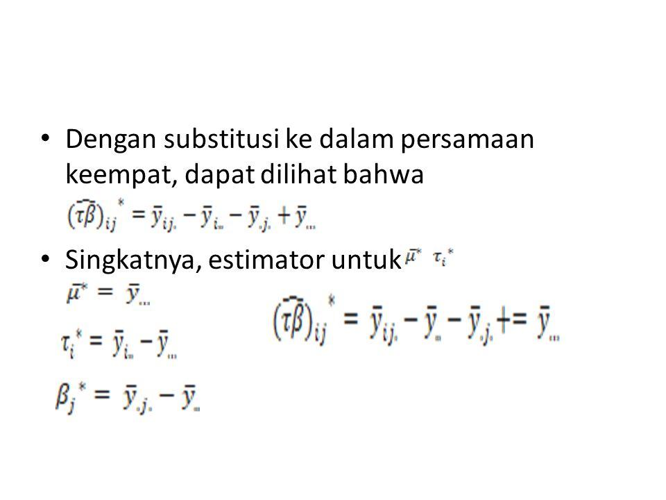 Dengan substitusi ke dalam persamaan keempat, dapat dilihat bahwa