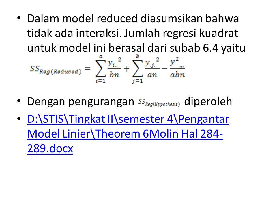 Dalam model reduced diasumsikan bahwa tidak ada interaksi