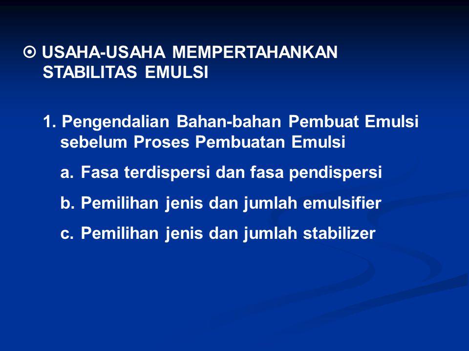  USAHA-USAHA MEMPERTAHANKAN STABILITAS EMULSI