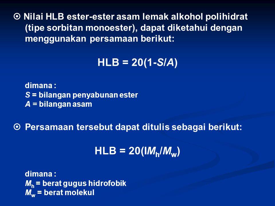 HLB = 20(1-S/A) HLB = 20(IMh/Mw)
