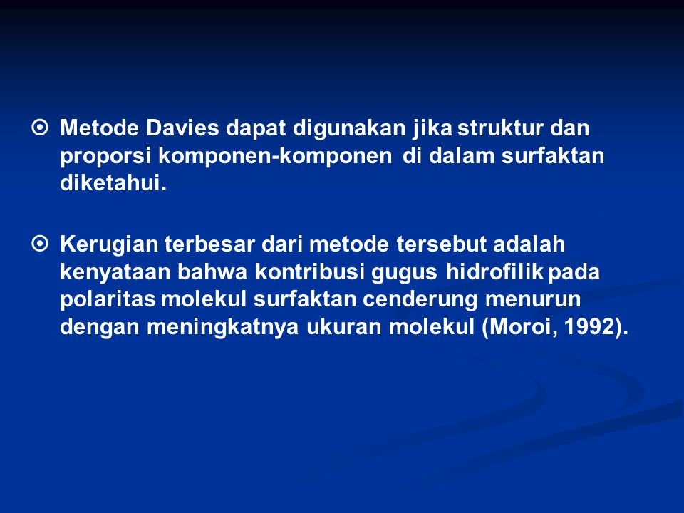 . Metode Davies dapat digunakan jika struktur dan