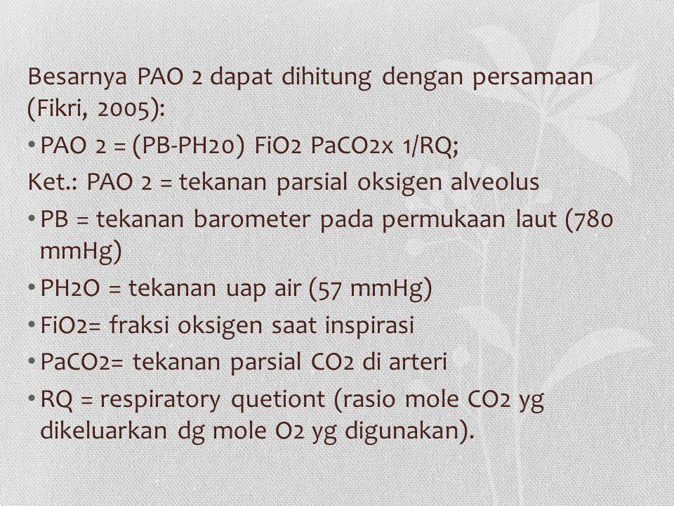 Besarnya PAO 2 dapat dihitung dengan persamaan (Fikri, 2005):